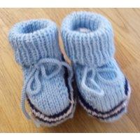 Baby-Schühchen, hellblau mit marine + weiss (Sohle hellblau)