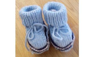 Baby-Schühchen, hellblau mit marine + weiss (Sohle...