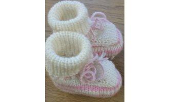 Baby-Schühchen, winterweiss mit rosa (Sohle...