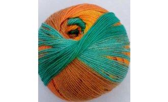 Sockenwolle, Türkis-Orange-Camel