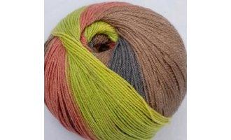 Sockenwolle, Hellgrün, Hellrot, Sand