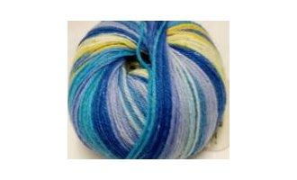 Knitcol, Royal-Hellblau-Lila-Gelb-Weiss