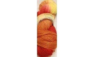 Lungauer Sockenwolle, handgefärbt, Rot-Orange-Gelb