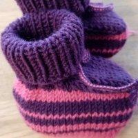 Baby Schühchen violett mit pink, Sohle pink