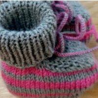Baby-Schühchen, grau mit pink, Sohle grau